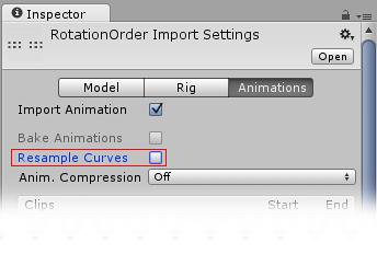 Unity - Manual: Euler Curve Import