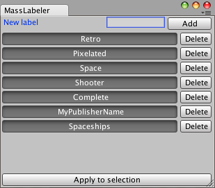 Unity - Manual: Mass Labeler