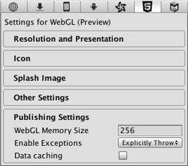 Unity - Manual: WebGL Preview Player Settings
